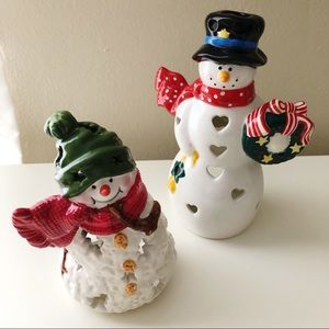 2 Hallmark Collectible Snowmen Lanterns/Tea Lights